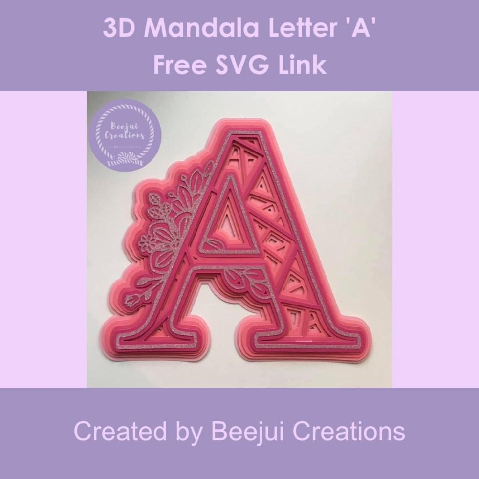 3D Mandala Letter 'A' - Free SVG Link