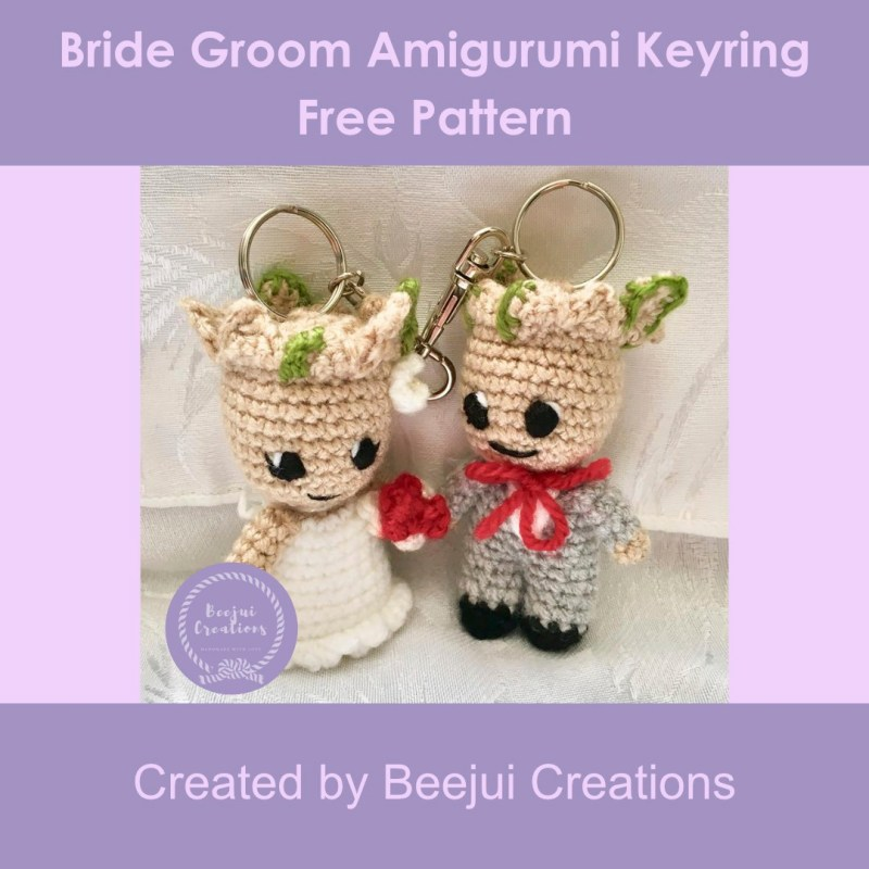 Bride Groom Character Keyring