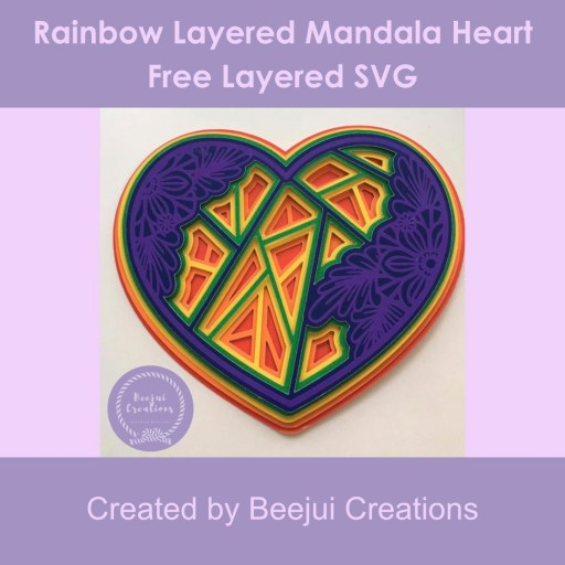 Rainbow Layered Mandala Heart - Free Layered SVG