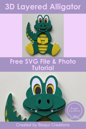 3D Layered Alligator SVG Free File & Tutorial