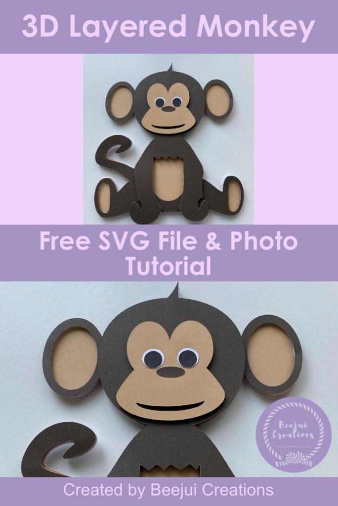 3D Layered Monkey SVG - Free File & Tutorial
