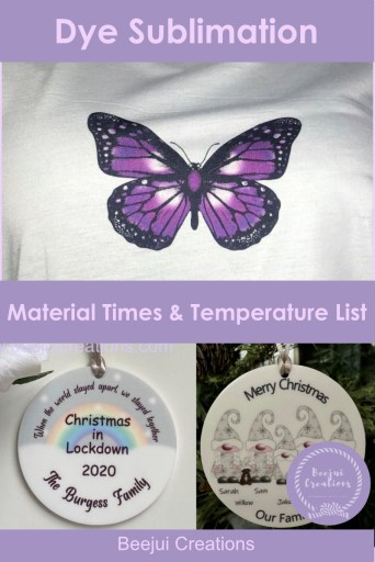 Sublimation Material Settings List