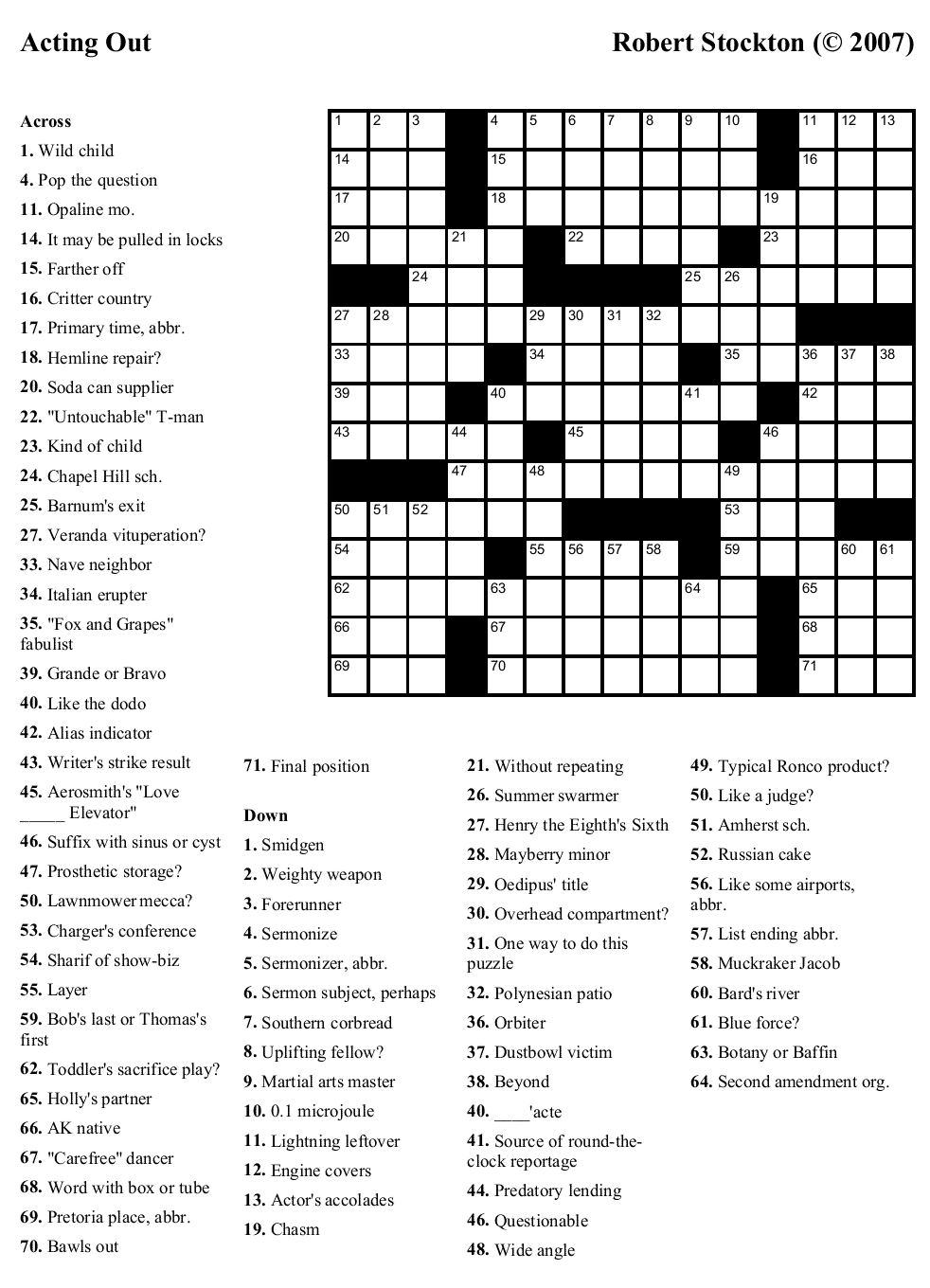 """Beekeeper Crosswords » Blog Archive » Puzzle #24: """"Acting Out"""""""