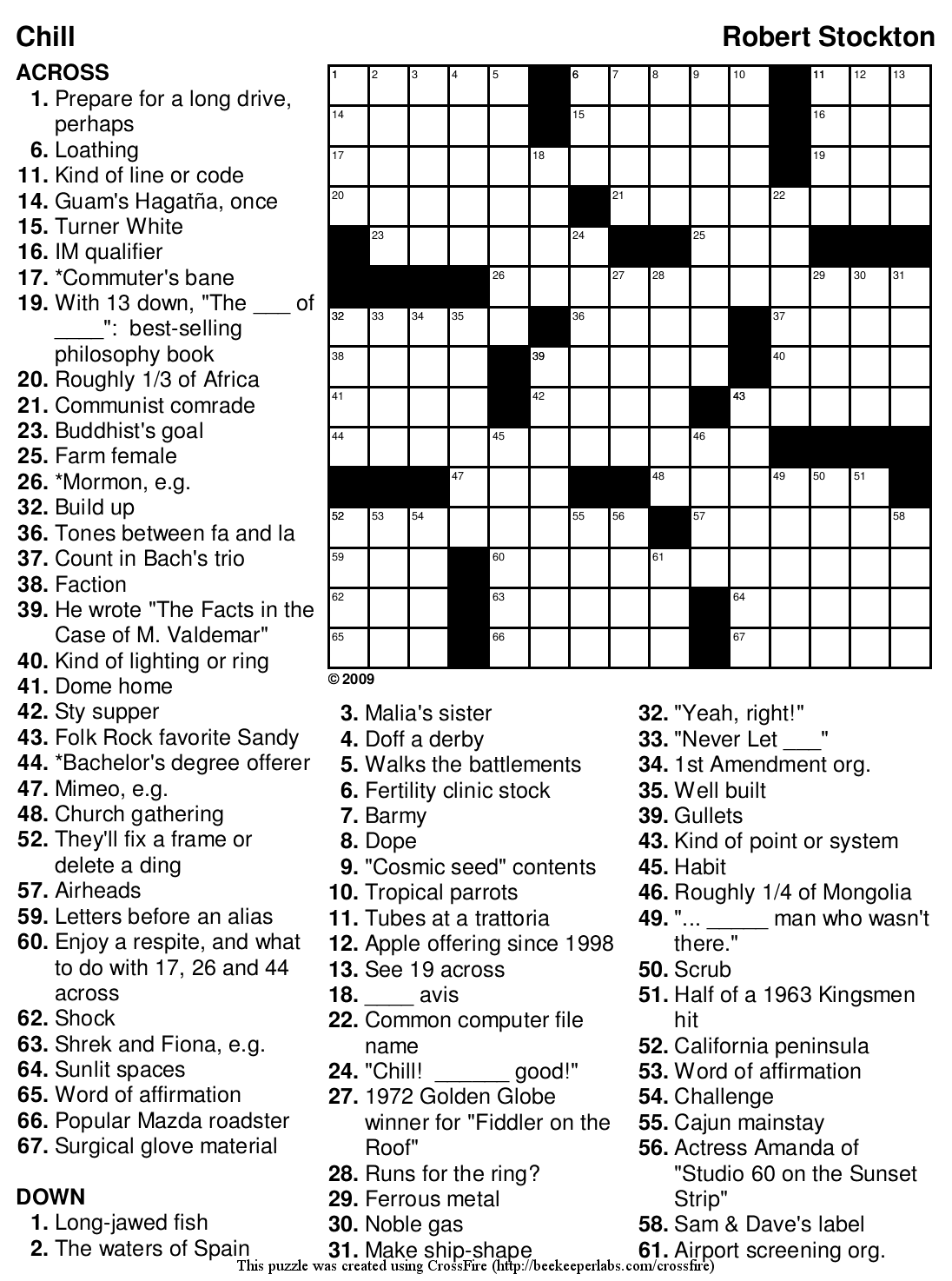 "Beekeeper Crosswords » Blog Archive » Puzzle #135: ""Chill"""