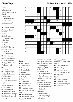"Beekeeper Crosswords » Blog Archive » Puzzle #27: ""Chop Chop"""