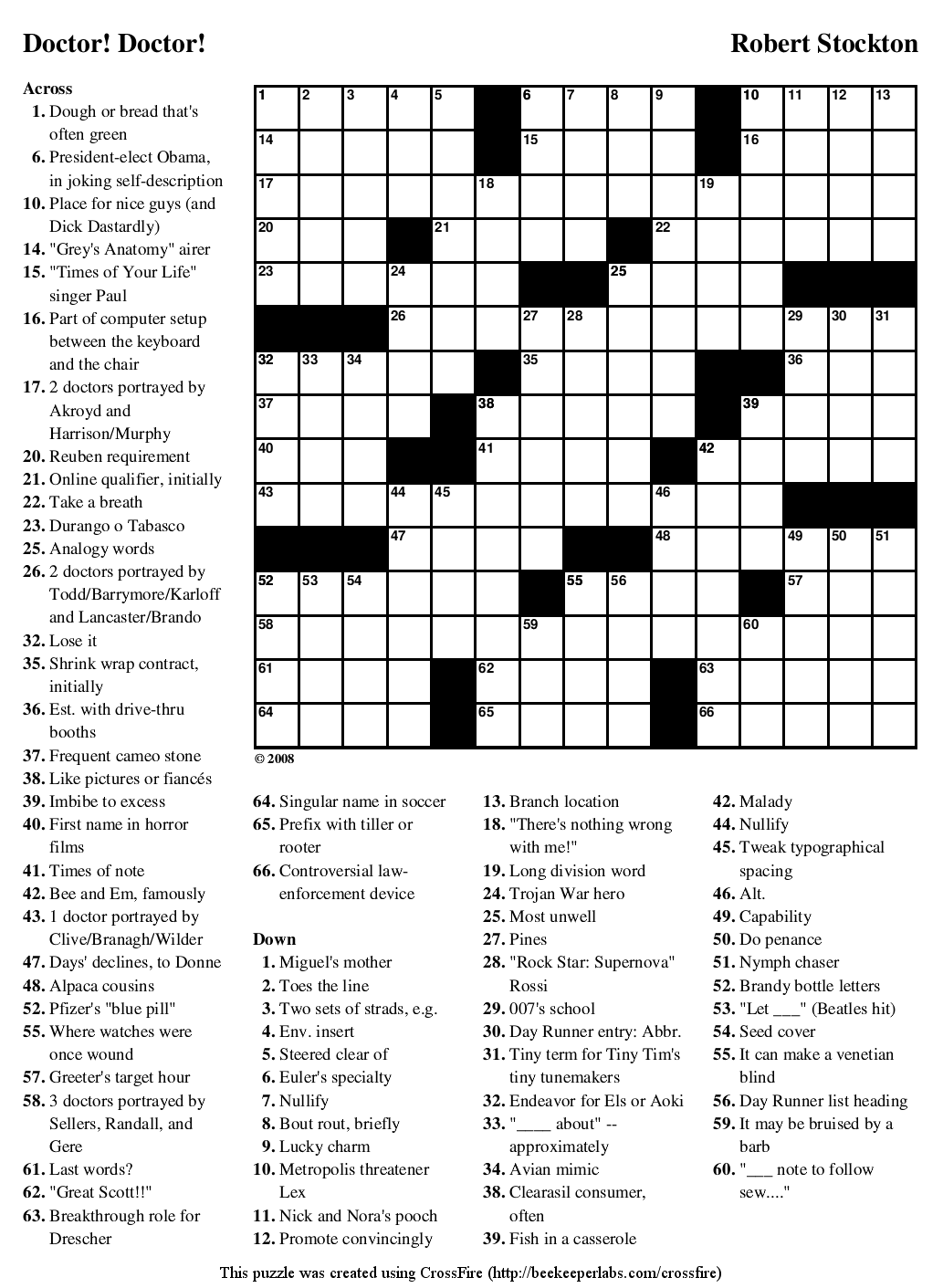 "Beekeeper Crosswords » Blog Archive » Puzzle #72: ""Doctor"