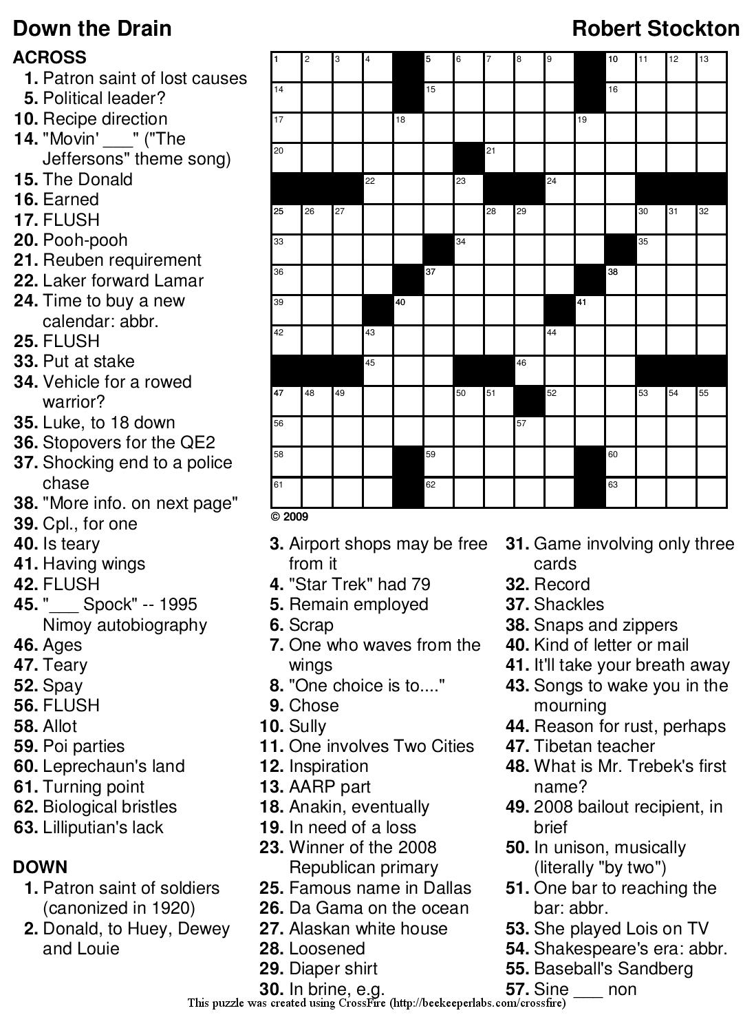 Free Printable Celebrity Crossword Puzzles
