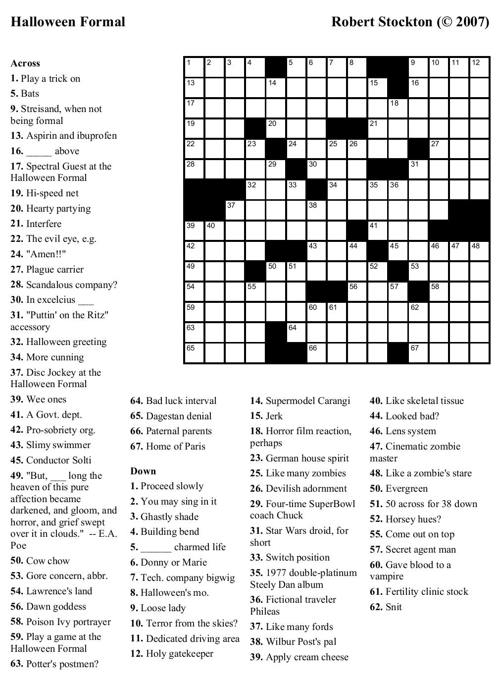 Beekeeper Crosswords » Blog Archive » Puzzle #17