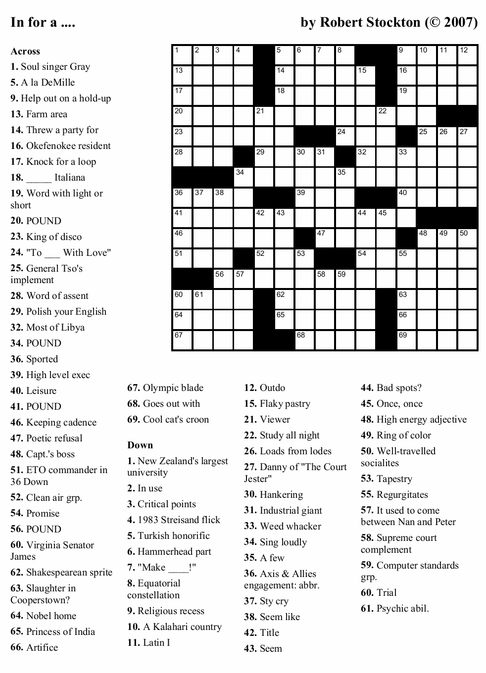 """Beekeeper Crosswords » Blog Archive » Puzzle #1: """"In for a"""