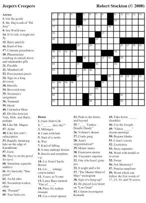 """Beekeeper Crosswords » Blog Archive » Puzzle #43: """"Jeepers"""