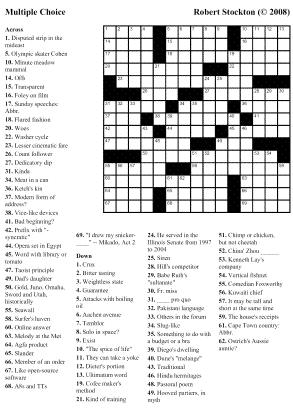 Beekeeper Crosswords » Blog Archive » Puzzle #44