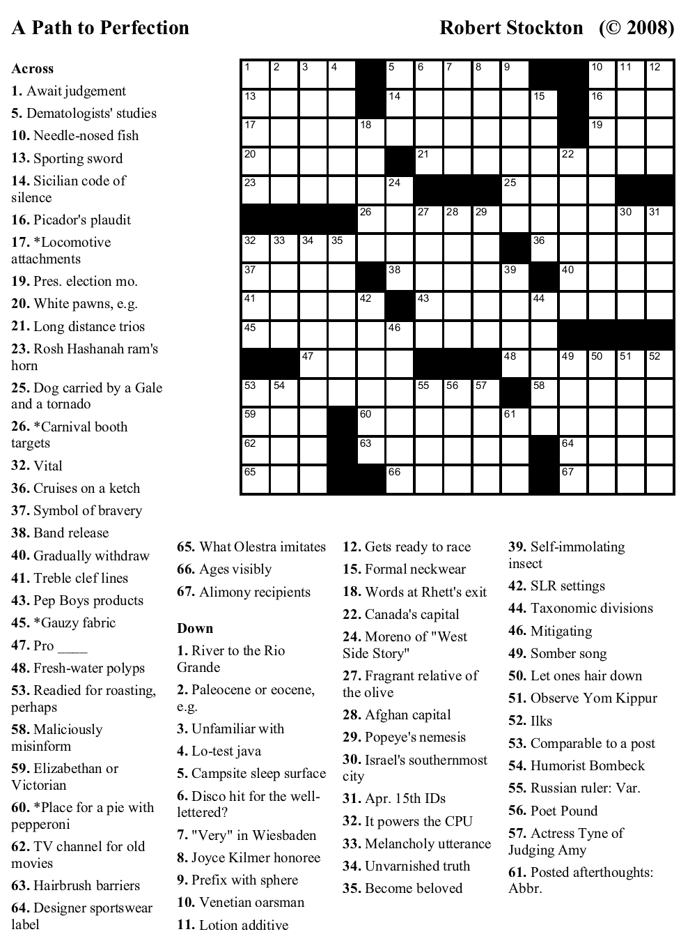 """Beekeeper Crosswords » Blog Archive » Puzzle #48: """"A Path"""