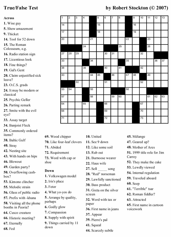 """Beekeeper Crosswords » Blog Archive » Puzzle #4: """"True"""