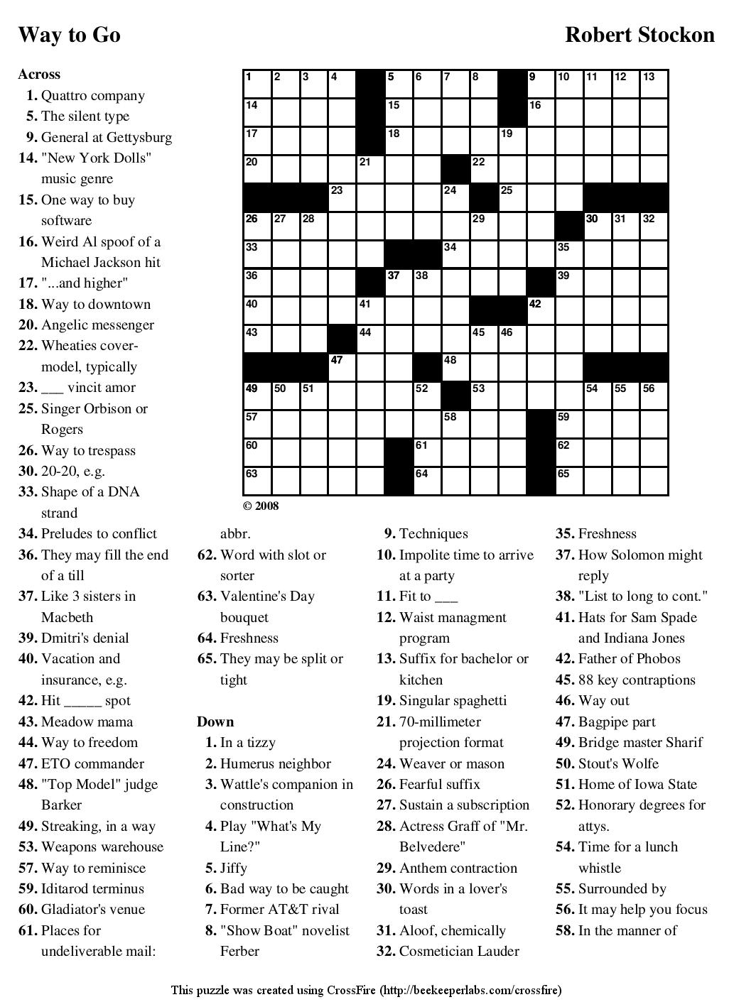 """Beekeeper Crosswords » Blog Archive » Puzzle #74: """"Way to Go"""""""