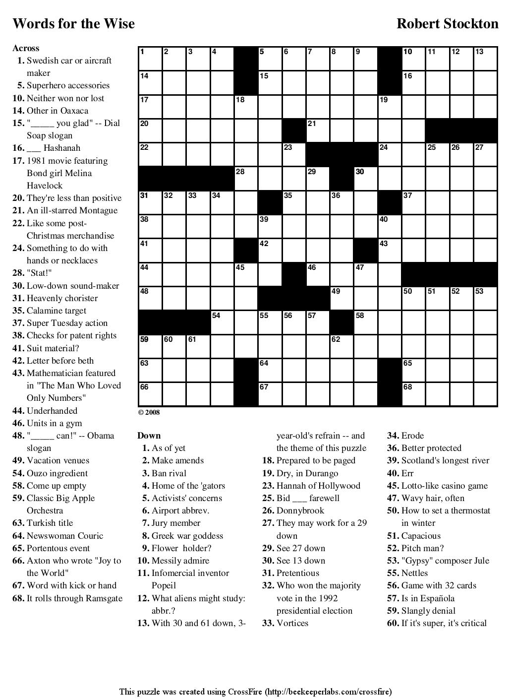 """Beekeeper Crosswords » Blog Archive » Puzzle #76: """"Words"""