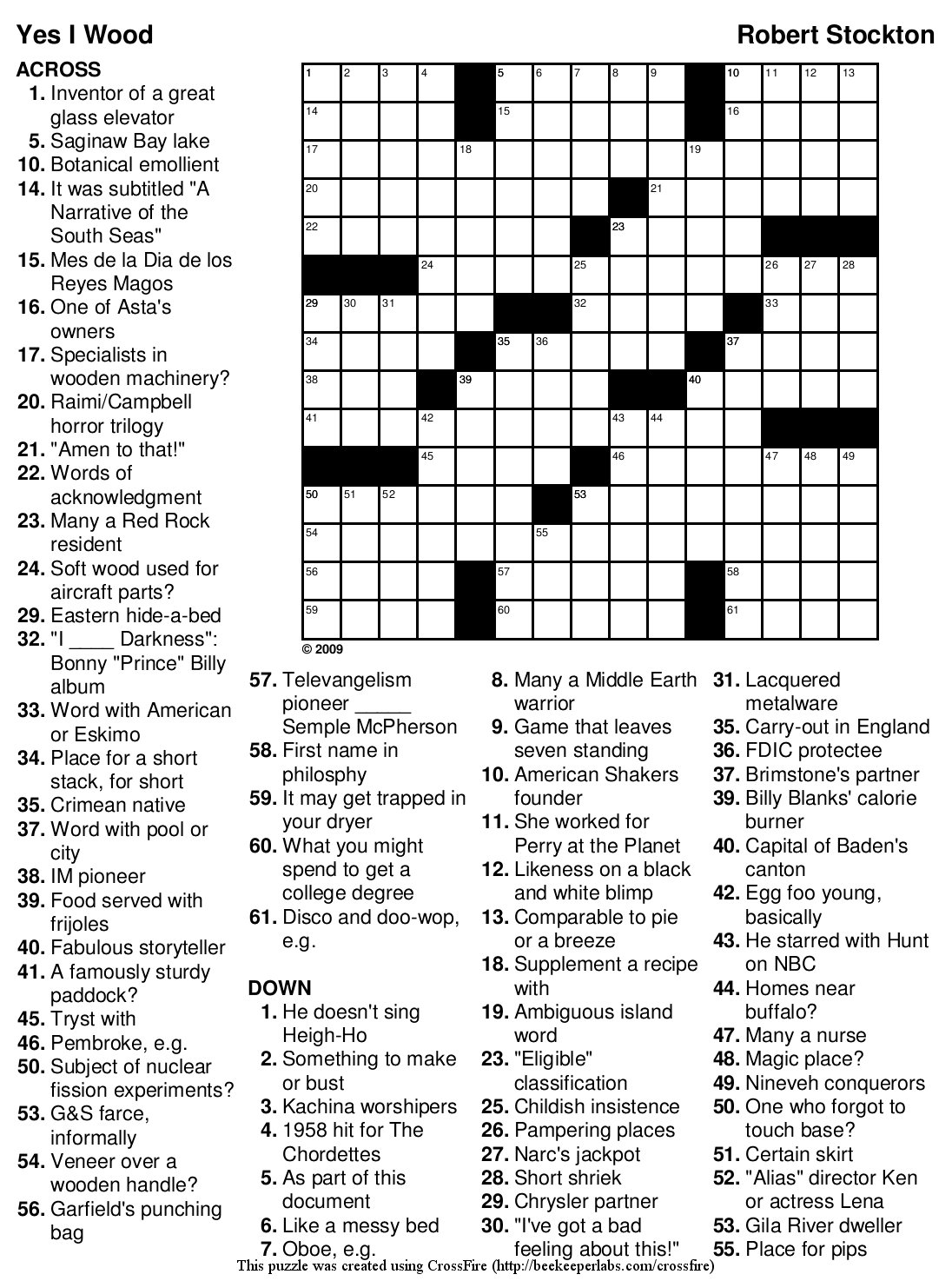 """Beekeeper Crosswords » Blog Archive » Puzzle #100: """"Yes I"""