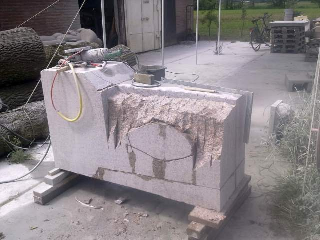 cutting granite with an angle grinder