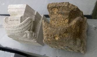 Noachs Arche: nieuw in Muschelkalk, alt in Ettringer Tuff. Turm Eusebiuskerk