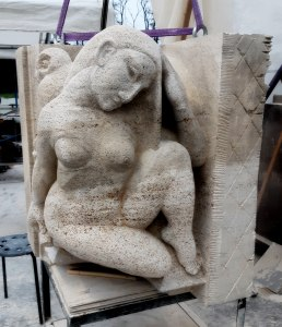 Sculpture The Night by Eduard Kuilsburg- new copy in Muschelkalk limestone