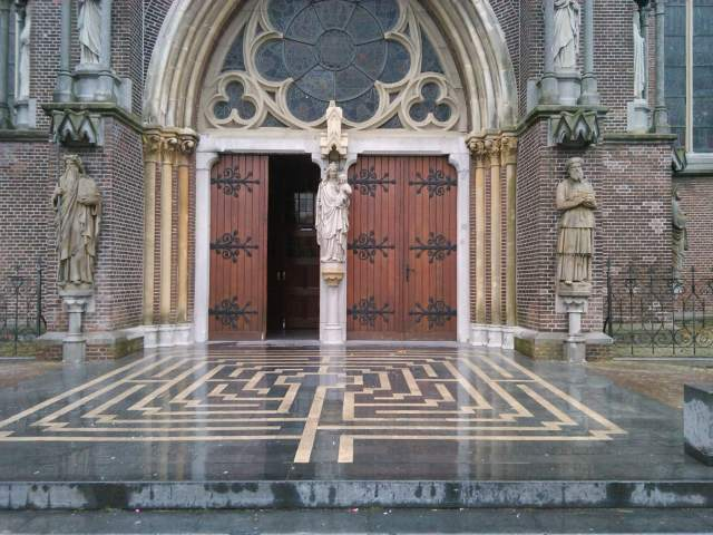 Moses and Aaron back . Portal Lambertuskerk Veghel restored with statues of Moses and Aaron