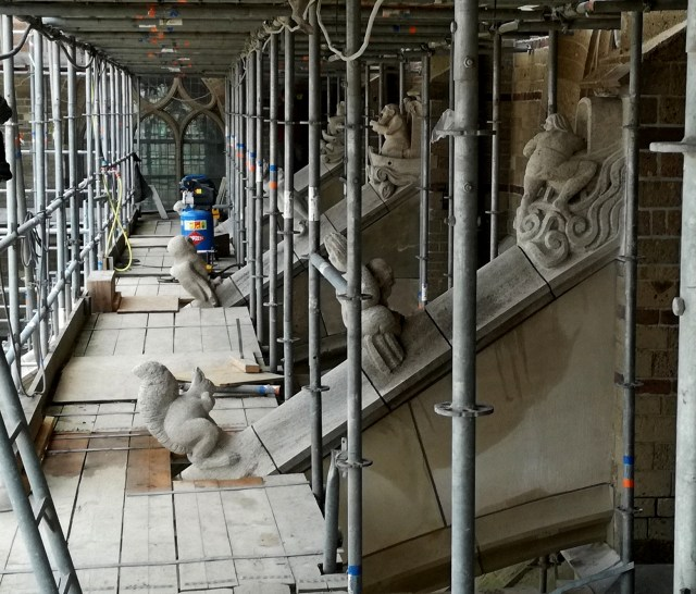 Scaffold Visit at St. Eusebius's Church according flying buttress figurines