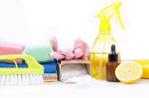 Backing soda, towels, essential oils,, spray bottle and gloves