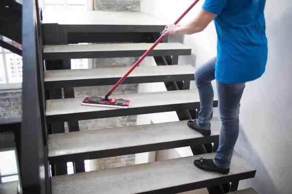 Cleaning service sweeping steps