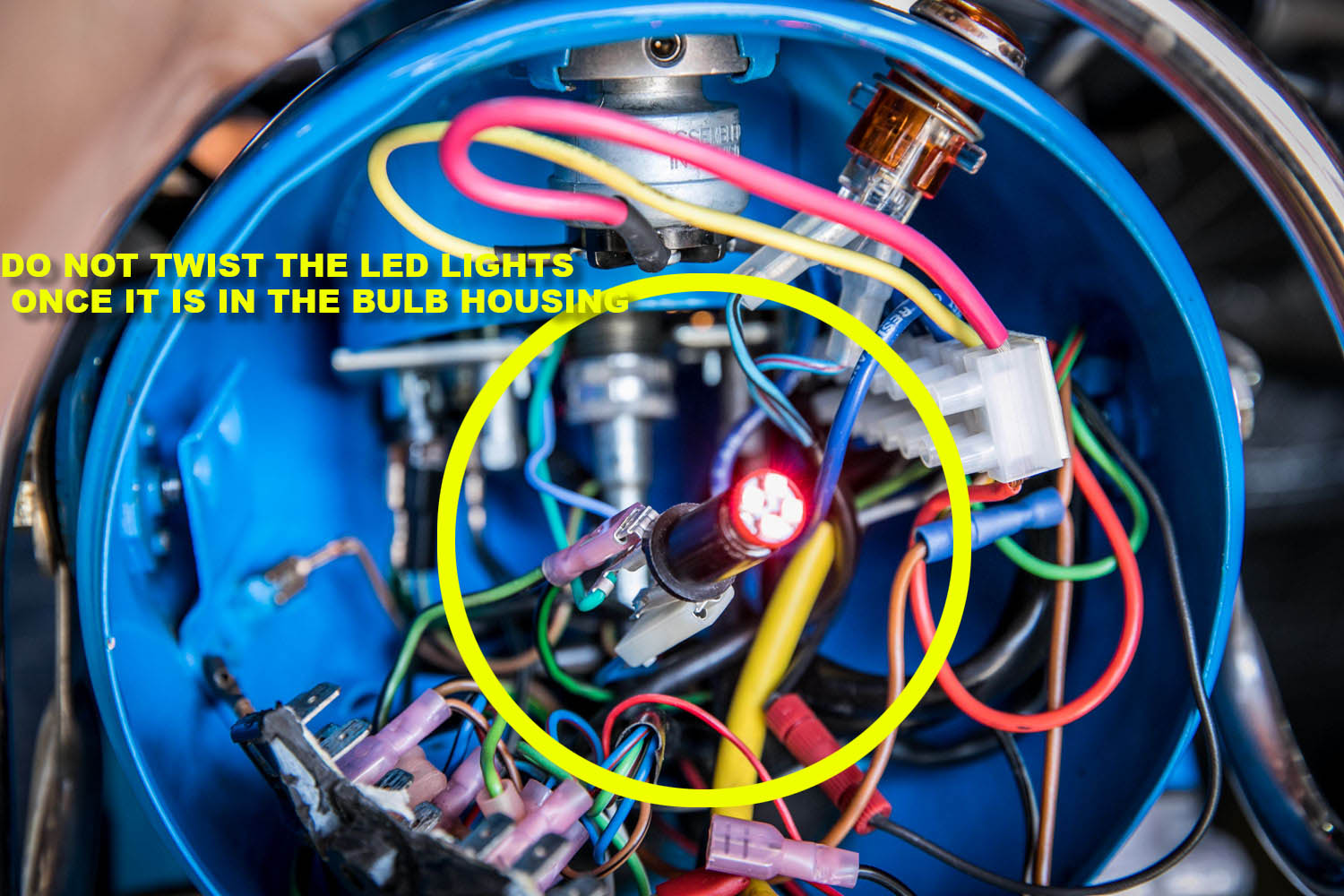 hight resolution of a few things to realize there are additional wires with resistors added to allow the generator voltage light to activate with the led bulb