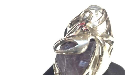 アメシスト原石のリング