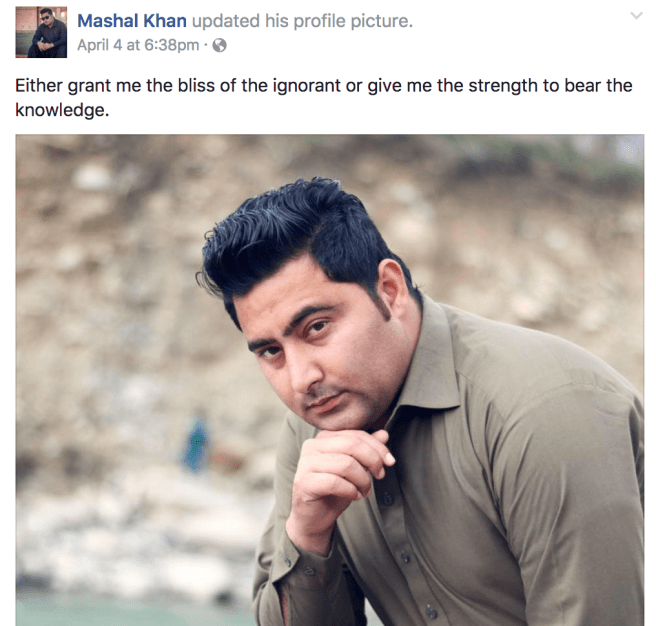 """Mashal Khan: student, poet, humanist, """"voice of the voiceless"""""""
