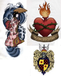 Geisha and Sacred Heart Designs used on Cashmere Sweaters