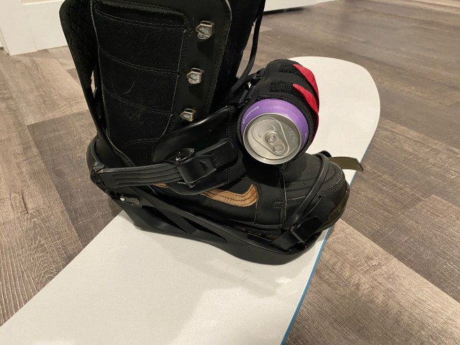 Beer on Front Strap Snowboard Binding