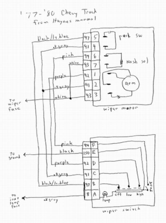 blazer rear wiper motor wiring diagram 1993