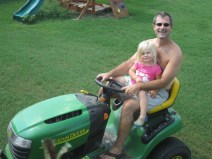 Helping mow the lawn
