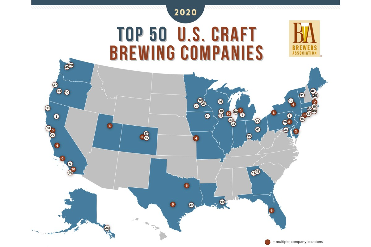 Brewers Association's annual Top 50 U.S. Craft Brewing Companies by Sales Volume • Graphic via Brewers Association