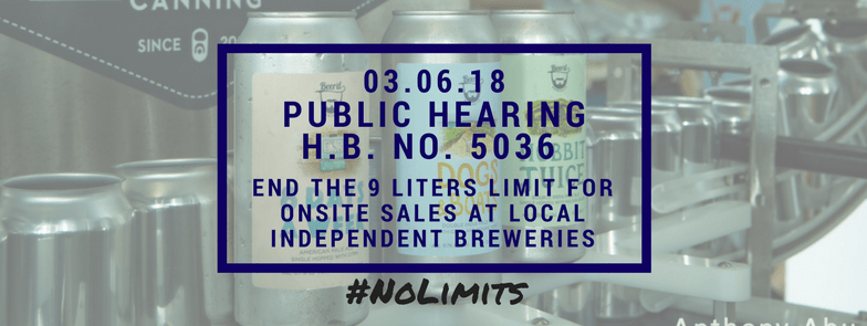 Public Hearing H.B. No. 5036 End the 9 liters limit for onsite sales at local independent breweries