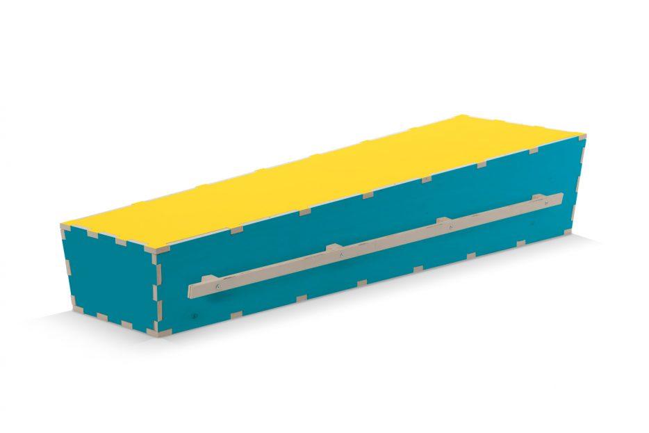 Uitvaartkist doodskist kleuren blauwe met gele deksel Beerenberg draaglatten
