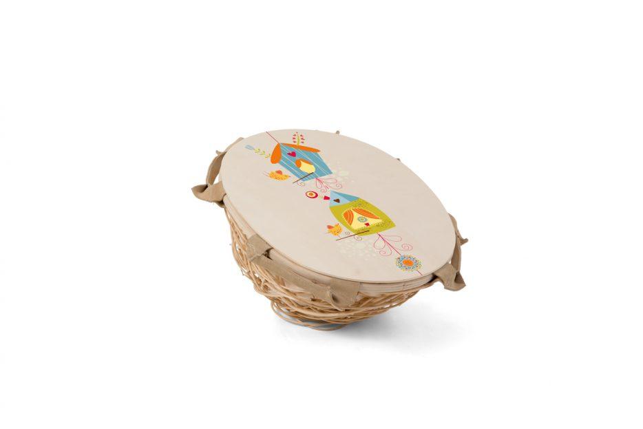 Kinder uitvaart Nana wilgen herinnerings mandje met deksel ontwerp huisjes