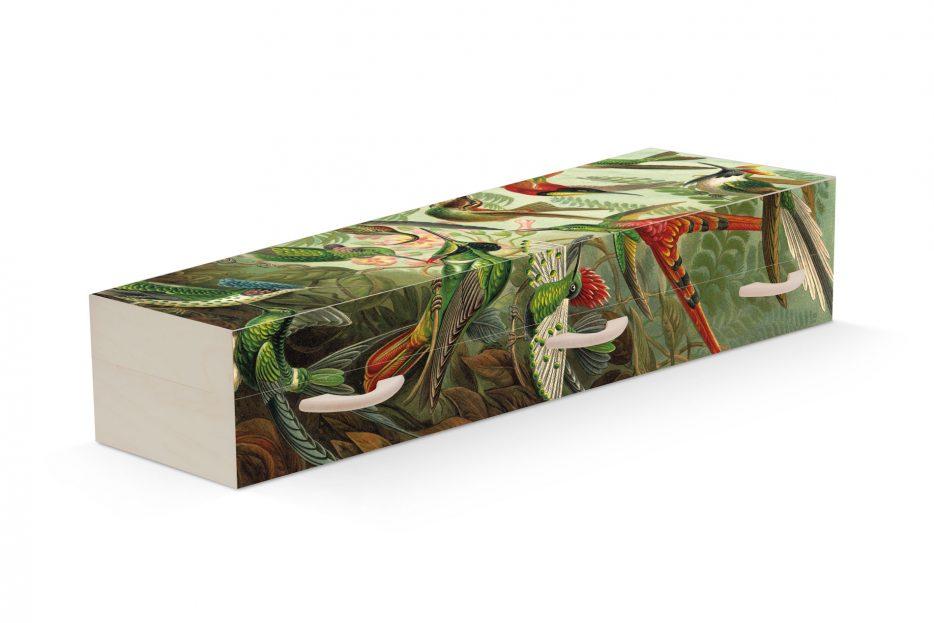 Uitvaartkist Doodskist vogels Heackel Beerenberg Persoonlijke Uitvaartkist, vogels, heackel, landschap, persoonlijke doodskist, bijzondere grafkist afbeelding, Beerenberg