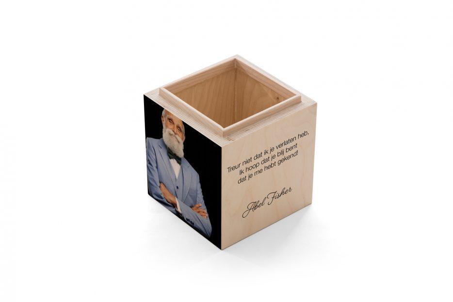 urn kistje hout as, rechthoek, persoonlijk, foto, zwart, kleur tekst, Beerenberg, urnkistje, urnen