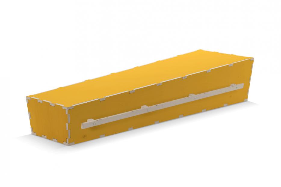 Doodskist bijzonder, persoonlijk grafkist, uitvaartkist Beerenberg, Uitvaartkist geel draaglatten Beerenberg