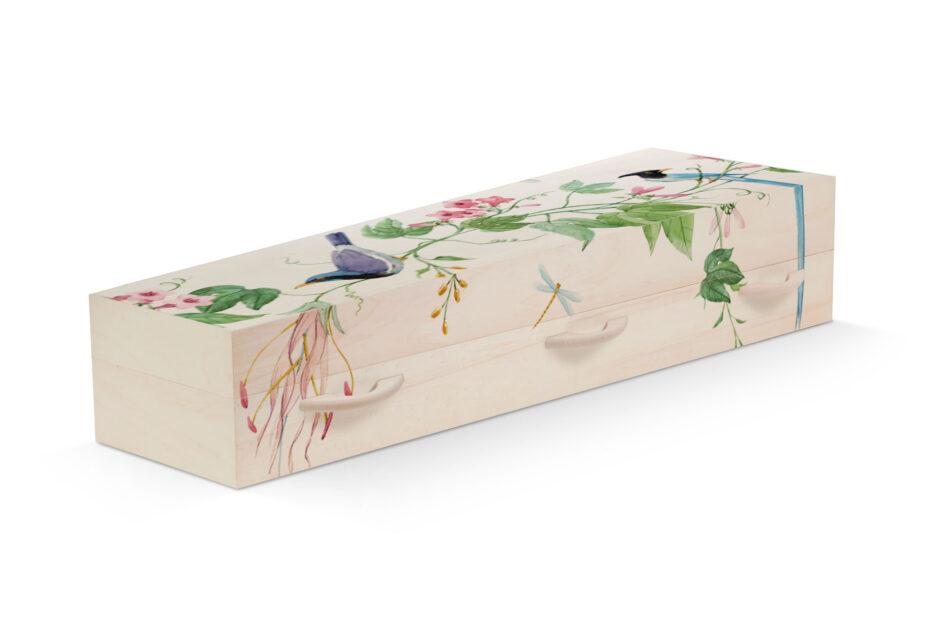 Uitvaartkist Beerenberg vogels persoonlijk bloemen planten
