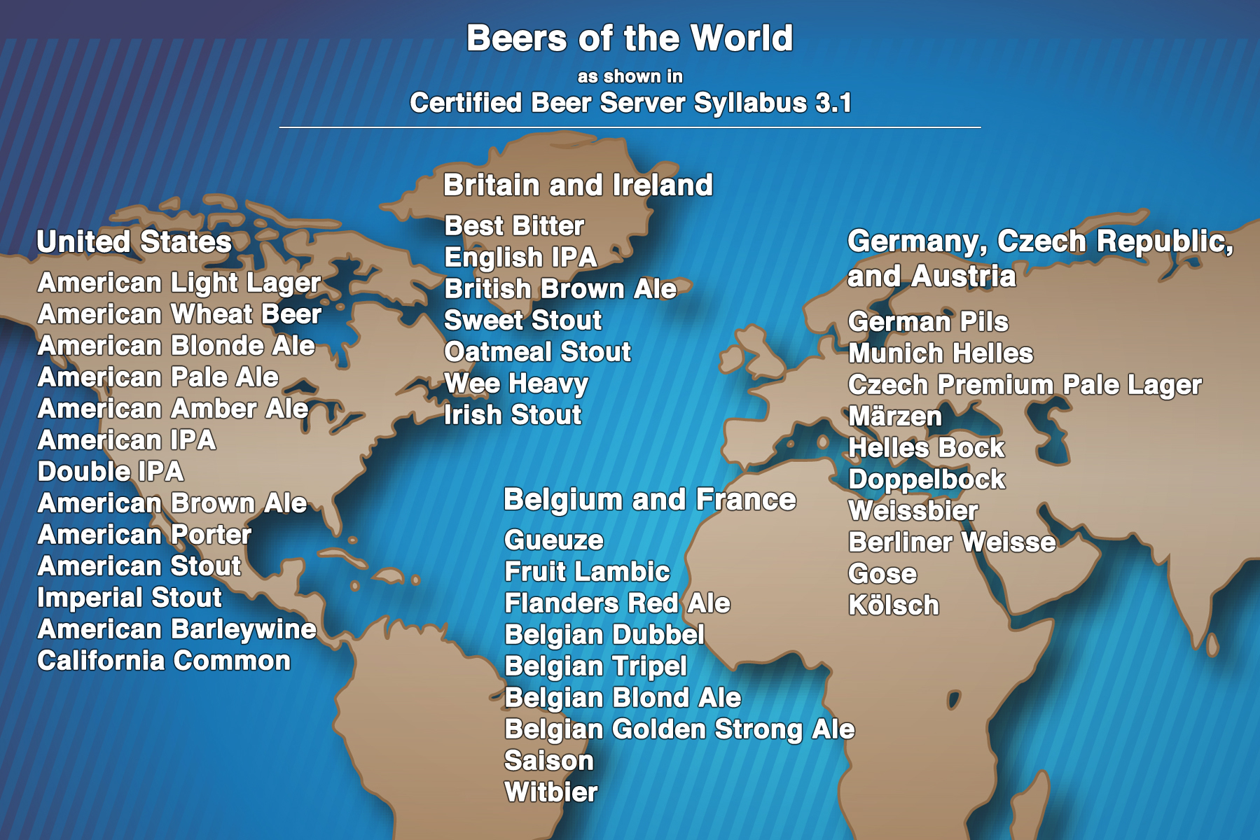 Beers Of The World Map As Shown In Certified Beer Server Syllabus 3 1