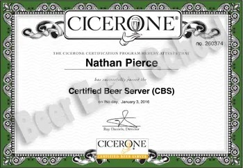 After I passed the exam, Cicerone® Certification Program emailed me a Certified Beer Server certificate.
