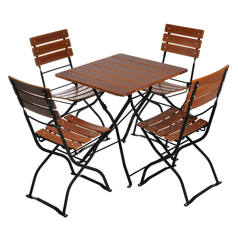 bistro tables and chairs best chair for sciatica square table 4 beer garden furniture nut brown black frames