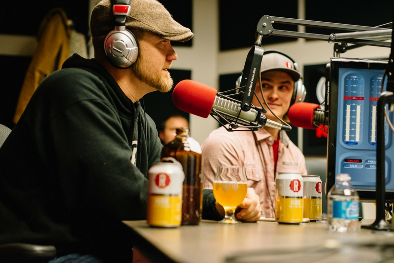 Reformation Brewing co-owner Spencer Nix talking to the Beer Guys, while Ryan Morley-Stockton looks on. (courtesy Reformation Brewing)