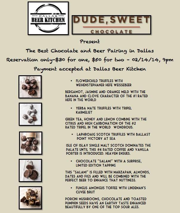 Dude, Sweet Chocolate and Beer Pairing on Feb 14