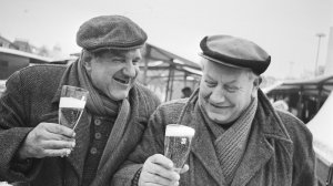 Old Men Smiling with Beers