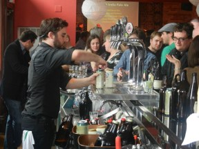 The 2013 Ontario Brewing Awards featured several beer and food pairing stations like this one