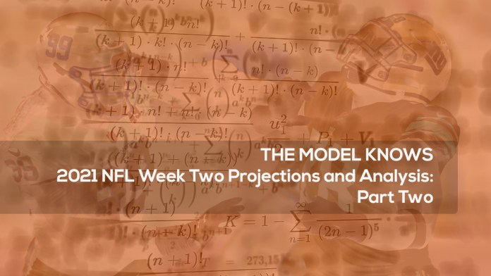 2021 NFL Week Two Projections and Analysis- Part Two